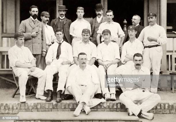 Somerset County Cricket Team circa 1892 Left to right back row Arthur Edward Newton T Spencer John Challen Bill Roe Vernon Hill and T Knight middle...