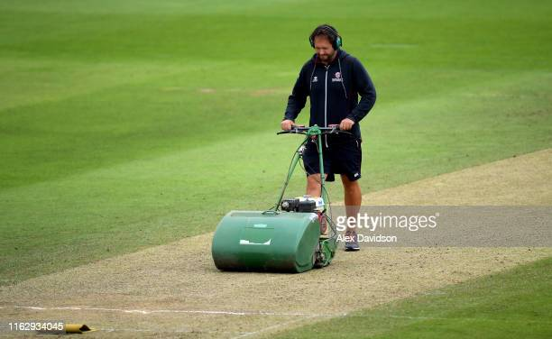 Somerset head groundsman Simon Lee prepares the pitch during Day Two of the Kia Women's Test Match between England Women and Australia Women at The...