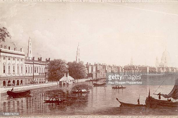 Somerset House and Temple Gardens before the construction of the Thames Embankment London circa 1800