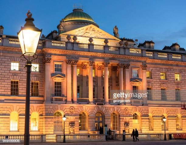 somerset house in london at dusk - floodlit stock pictures, royalty-free photos & images