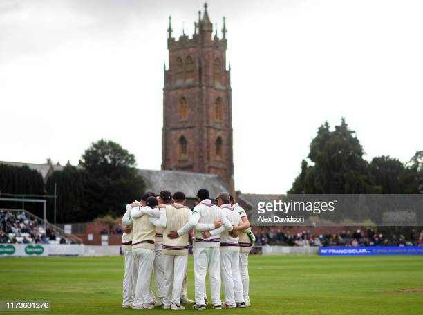 Somerset huddle during Day 1 of the Specsavers County Championship match between Somerset and Yorkshire at The Cooper Associates County Ground on...
