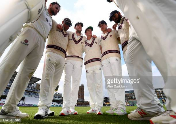 Somerset huddle during Day 4 of the Specsavers County Championship Division One match between Somerset and Kent at The Cooper Associates County...