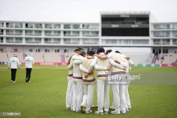 Somerset huddle during Day One of The Specsavers Division One County Championship match Hampshire and Somerset at The Ageas Bowl on September 16 2019...