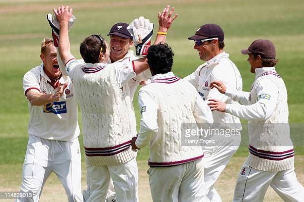 Somerset players celebrate after running out Ajmal Shahzad of Yorkshire during day four of the LV County Championship Division One match between...