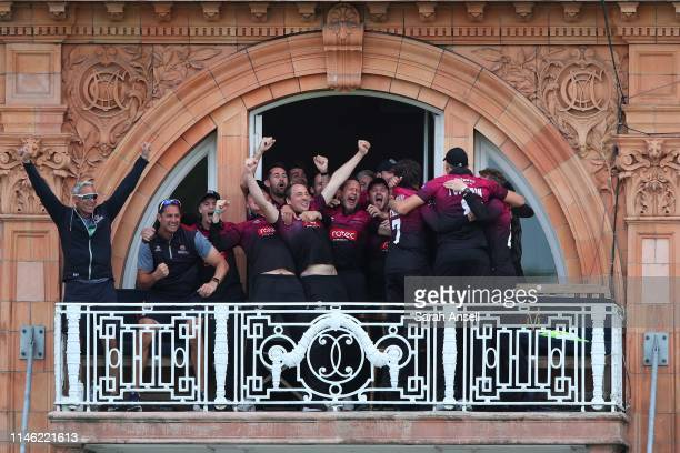 Somerset players celebrate on the balcony as they win the Royal London One Day Cup Final match between Somerset and Hampshire at Lord's Cricket...