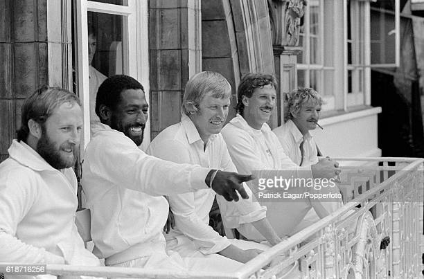 Somerset players Vic Marks, Viv Richards, Brian Rose, Ian Botham and Peter Denning on the dressing-room balcony during the Benson and Hedges Final...