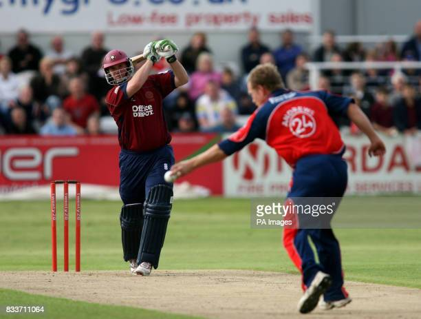 Somerset's Gareth Andrew fails in his attempt for a caught and bowled of David Sales during the North Division Twenty20 Cup match at Trent Bridge...