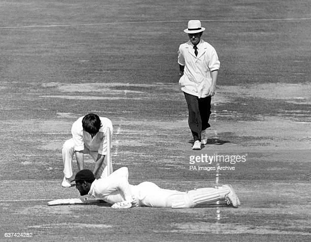 Somerset's Viv Richards appears to be crawling past the crease after diving to make his ground safely