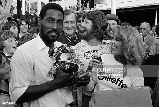 Somerset's Viv Richards receives some products from the sponsors after being awarded the 'man of the match' for his performance in the Gillette Cup...