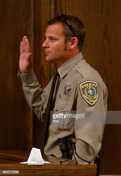 Somerville Deputy Sheriff Keith Martin is sworn in during the capital murder trial of former Marine Cpl Eddie Ray Routh at the Erath County Donald R...
