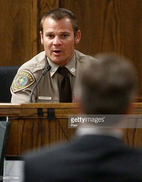 Somerville Deputy Sheriff Keith Martin testifies during the capital murder trial of former Marine Cpl Eddie Ray Routh at the Erath County Donald R...