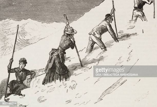 Sometimes they encountered a crevasse hikers in the mountains an ascent of the Schilthorn from Murren Switzerland illustration from the magazine The...