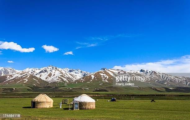 Somewhere between Osh and Bishkek, more specific between Toktogul and Bishkek in the Kirghiz Range. Yurts for the nomadic people with their herds....