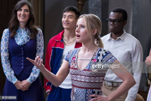 PLACE Somewhere Else Episode 213 Pictured D'Arcy Carden as Janet Manny Jacinto as Jianyu Kristen Bell as Eleanor William Jackson Harper as Chidi
