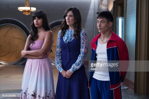 PLACE 'Somewhere Else' Episode 213 Pictured Jameela Jamil as Tahani D'Arcy Carden as Janet Manny Jacinto as Jianyu