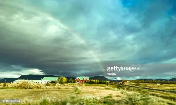 somewhere over the rainbow, iceland - vsojoy stock pictures, royalty-free photos & images