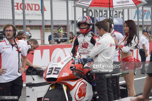 Somkiat Chantra of Thailand and Idemitsu Honda Team Asia prepares to start on grid during the Moto2 race during the MotoGP of Japan - Race at Twin...