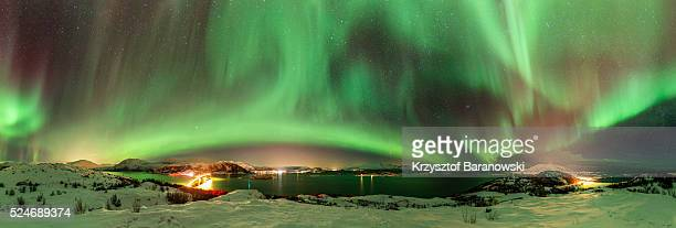 Sommar��y Panorama with Northern Lights