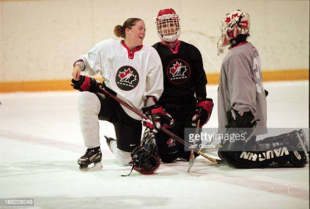 Sommer West enjoys laugh with Gillian Ferrari and Manon Rheaume as the cool down on ice after practiceCloseups of Sommer in seats and Manon on bench...