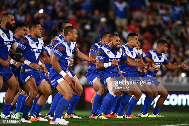 Somoa performs the Samoan war dance Siva Tau before the International Rugby League Test match between Tonga and Samoa at Pirtek Stadium on May 7 2016...