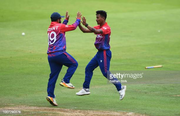 Sompal Kami of Nepal celebrates getting a wicket during the T20 Triangular Tournament match between The Netherlands and Nepal at Lords on July 29...