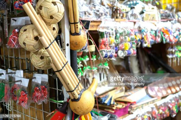 sompoton or mouth organ made from gourd with bamboo pipes - bamboo instrument stock photos and pictures