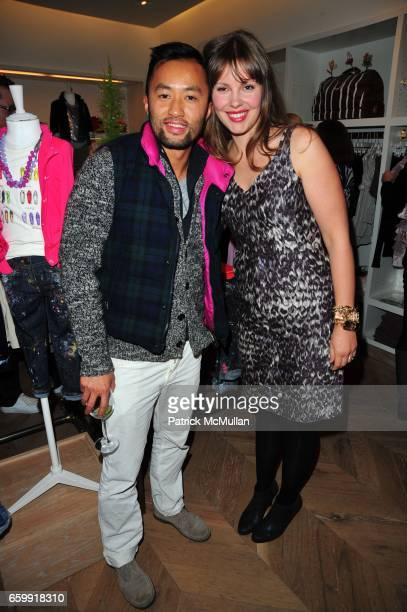 Somsack Sikhounmuong and Christine Tasche attend CREWCUTS celebrate 'Mimi's Shoes' with the WILDLIFE CONSERVATORY SOCIETY at Crewcuts on Madison on...