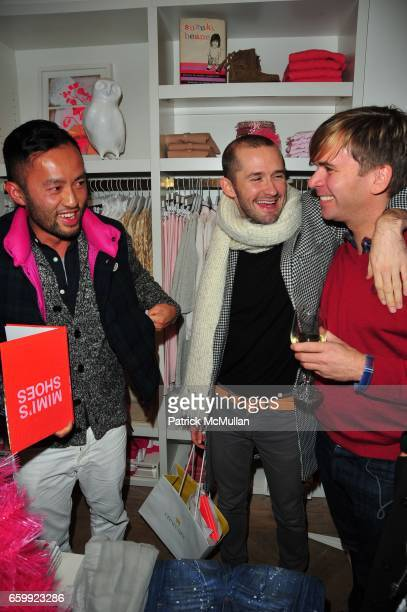 Somsack Sikhounmuong Derek Roce and Jym Benzing attend CREWCUTS celebrate 'Mimi's Shoes' with the WILDLIFE CONSERVATORY SOCIETY at Crewcuts on...