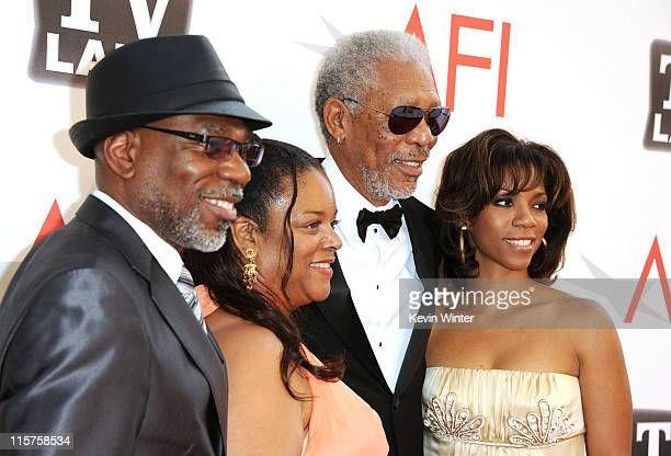 Son Alfonso Freeman daughter Deena Adair 39th Life Achievement Award recipient Morgan Freeman and daughter Morgana Freeman arrive at the 39th AFI...