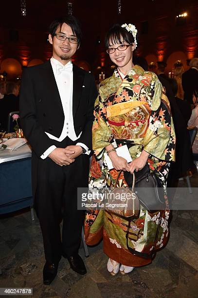 Son and daughter of physicist Hiroshi Amano attend the Nobel Prize Banquet 2014 at City Hall on December 10 2014 in Stockholm Sweden
