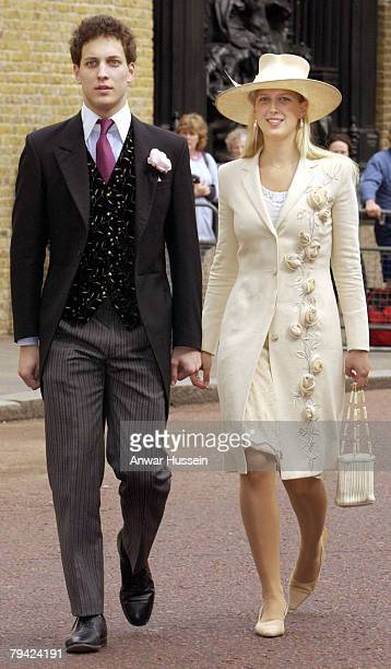 Son and daughter to Prince and Princess Michael of Kent Lord Frederick and Lady Gabriella Windsor arrive for the wedding of the son to the Duke and...