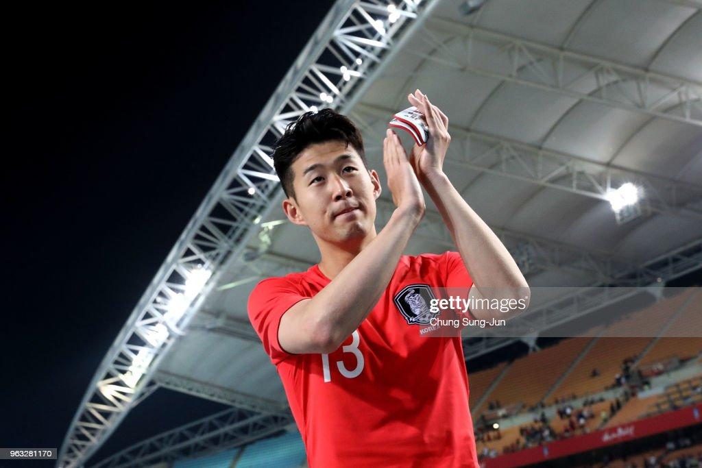 Son Heong-Min of South Korea celebrates after the international friendly match between South Korea and Honduras at Daegu World Cup Stadium on May 28, 2018 in Daegu, South Korea.