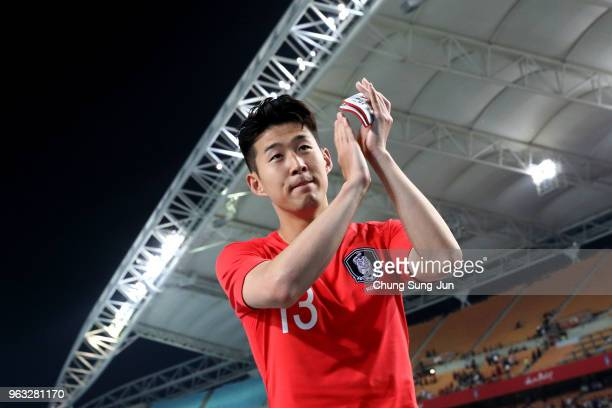 Son HeongMin of South Korea celebrates after the international friendly match between South Korea and Honduras at Daegu World Cup Stadium on May 28...