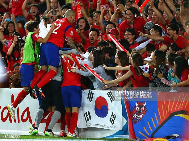 Son Heung Min of Korea Republic celebrates after scoring his teams first goal during the 2015 Asian Cup final match between Korea Republic and the...