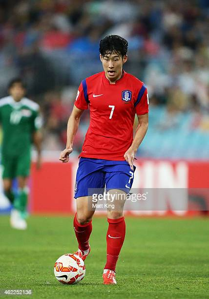 Son Heung Min of Korea Republic controls the ball during the Asian Cup Semi Final match between Korea Republic and Iraq at ANZ Stadium on January 26...