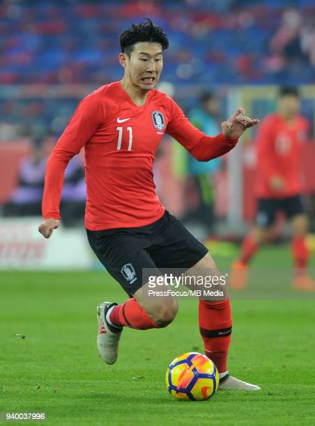 Son Heung Min of Korea Republic in action during international friendly match between Poland and Korea Republic at Slaski Stadium on March 27 2018 in...