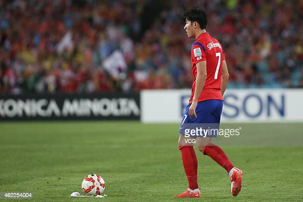 Son Heung Min of Korea Republic in action during the Asian Cup Semi Final match between Korea Republic and Iraq at ANZ Stadium on January 26 2015 in...