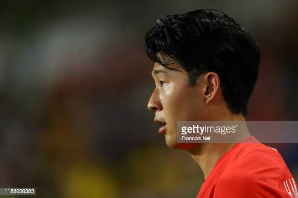 Son Heung Min of Korea Republic looks on during the International Friendly match between Brazil and Korea Republic at Mohammed bin Zayed Stadium on...