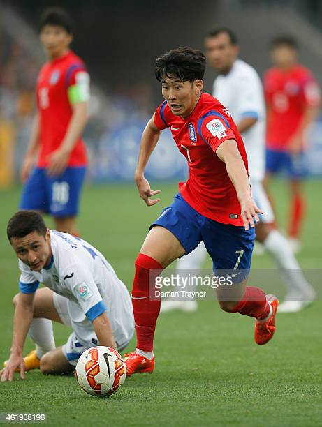 Son Heung Min of Korea Republic runs with the ball during the 2015 Asian Cup match between Korea Republic and Uzbekistan at AAMI Park on January 22...