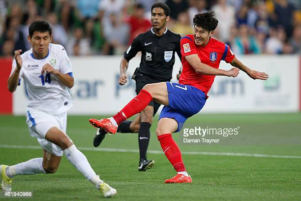 Son Heung Min of Korea Republic scores a goal during the 2015 Asian Cup match between Korea Republic and Uzbekistan at AAMI Park on January 22 2015...