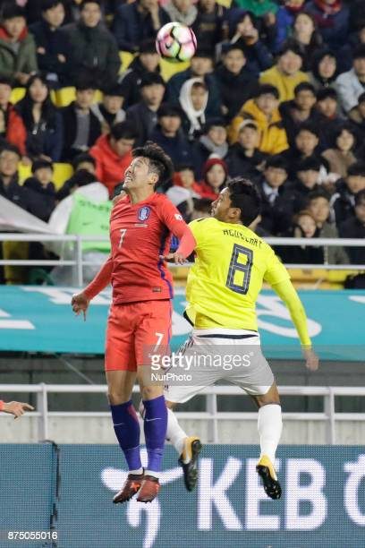 Son Heung Min of South Korea and Abel Aguilar of Colombia in action during an KEB HANA BANK Invitational Friendly Match South Korea v Colombia at...