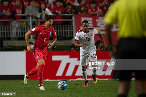 Son Heung Min of South Korea and Pedro Correia of Qatar action during an 2018 Russia World Cup Asian Qualifiers South Korea vs Qatar match at World...