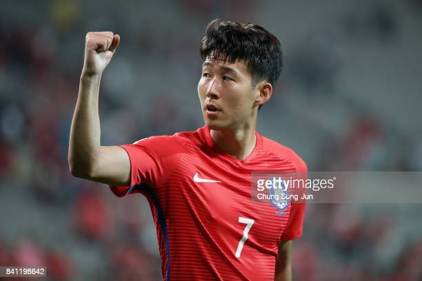 Son Heung Min of South Korea applauds supporters after the scoreless draw in the FIFA World Cup Russia Asian qualifier match between South Korea and...