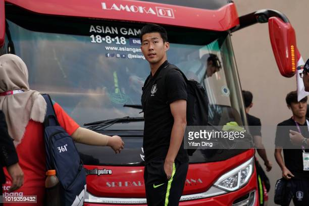 Son Heung Min of South Korea arrives at the stadium prior to the Men's Football Group E match between South Korea and Bahrain at Si Jalak Harupat...
