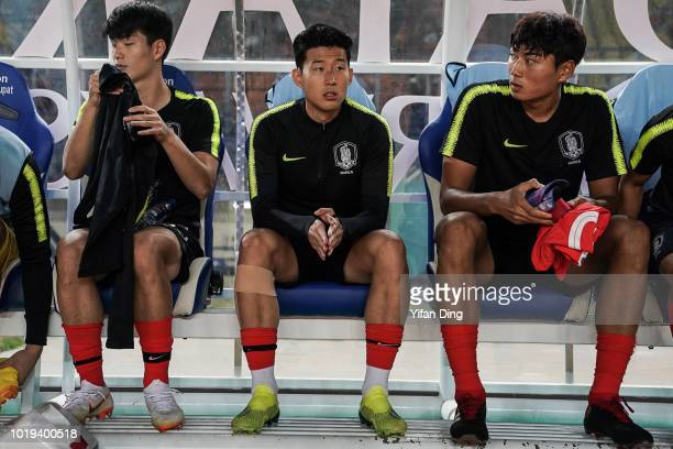 Son Heung Min of South Korean on the bench prior to the Men's Football Group E match between South Korea and Bahrain at Si Jalak Harupat Stadium...