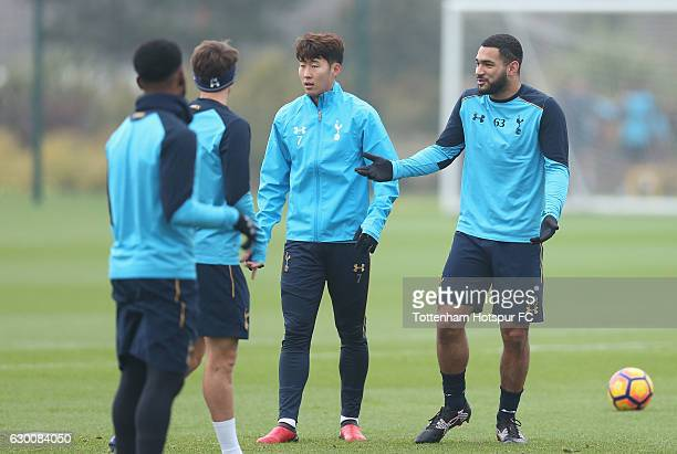 Son Heung-min and Cameron Carter-Vickers of Tottenham during the Tottenham Hotspur training session at Tottenham Hotspur Training Centre on December...