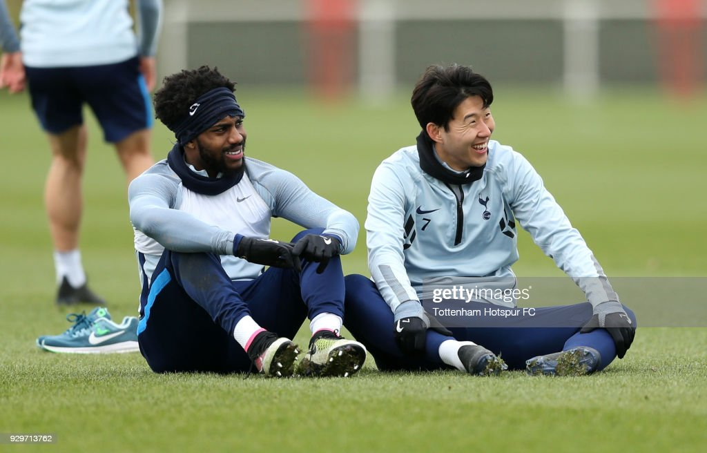 Son Heung-Min and Danny Rose of Tottenham Hotspur during training on March 9, 2018 in Enfield, England.