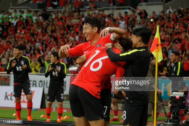 Son Heungmin and Hwang Uijo of South Korea goal ceremony after first goal during an South Korea v Australia Friendly match at Asiad Stadium in Busan...