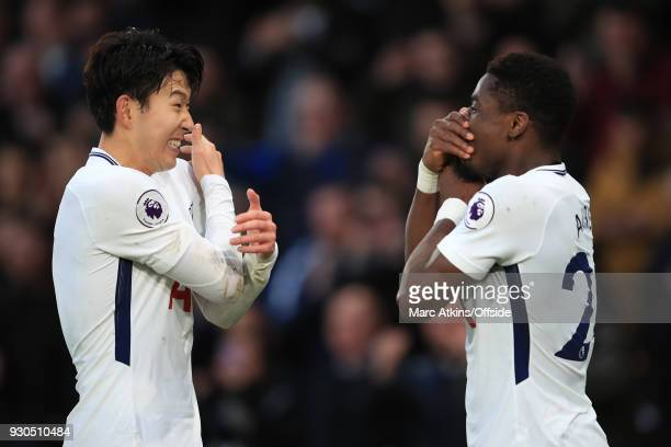 Son Heungmin and Serge Aurier of Tottenham Hotspur celebrate their 4th goal during the Premier League match between AFC Bournemouth and Tottenham...