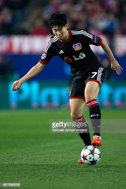Son HeungMin Bayer 04 Leverkusen controls the ball during the UEFA Champions League round of 16 second leg match between Club Atletico de Madrid and...